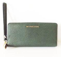 NWT Michael Kors Jet Set Travel Continental Saffiano Leather Wallet ~ Moss