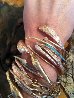 Kathy Rose Stack of gold bracelets #jewelry