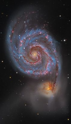 #M51: The #WhirlpoolGalaxy | Explanation: Follow the handle of the Big Dipper away from the dipper's bowl until you get to the handle's last bright star. Then, just slide your telescope a little south and west and you might find this stunning pair of interacting galaxies, the 51st entryin Charles Messier famous catalog. Perhaps the original spiral nebula, the large galaxy with well defined spiral structure is also cataloged as NGC 5194.