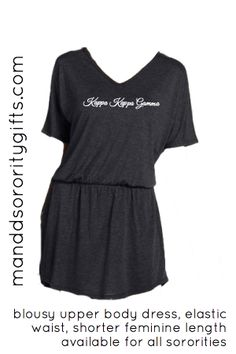 Kappa Kappa Gamma Dress, Your New Must Have Greek Clothing Item. Our Greek dress with its simple, elegant design will be the go to sorority dress in your closet! Dress it up or down. Wear it with some black leggings, some great boots, or flip-flops. The super soft feel of this dress will make it your go to sorority dress. Made of 65% polyester, 35% viscose. Loose fitting, short dress. $36.98