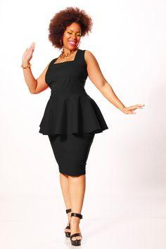 JIBRI Plus Size Peplum Top Square Neckline by jibrionline on Etsy Plus Size Peplum, Plus Size Dresses, Plus Size Outfits, Curvy Girl Fashion, Cute Fashion, Plus Size Fashion, Tops Peplum, Peplum Dress, Pencil Dress