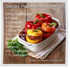 Leckeres Gefüllte Paprika mit Hackfleisch Rezept mit einfacher Schritt-für-Sch… Delicious stuffed peppers with minced meat recipe with simple step-by-step instructions: wash the peppers, cut out the end of the stem and … Stew Meat Recipes, Potluck Recipes, Raw Food Recipes, Healthy Recipes, Minced Meat Recipe, Salad Ingredients, Us Foods, Food Dishes, Clean Eating