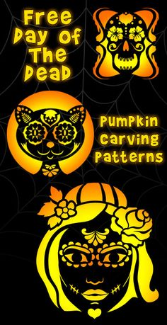 Day of the Dead Pumpkin Carving Stencils