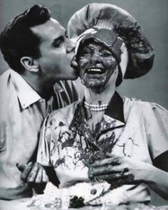 Ricky licking chocolate of of Lucille - I Love Lucy