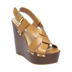 WHISTLE cognac LEATHER womens dress high wedge - Steve Madden
