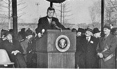 President John F. Kennedy speaking at the groundbreaking for the 1964/1965 New York World's Fair in December 1962 in Queens.