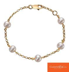 14k Yellow Gold Pearl Chain Bracelet by Gabriel & Co.