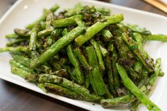 A simple, delicious Thanksgiving side: oven-roasted green beans, excerpted from Crescent Dragonwagon's BEAN BY BEAN.