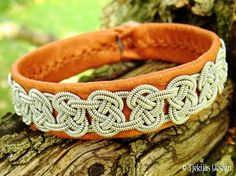 Sami VIKING Bracelet Cuff Custom Handmade Bark Tanned Reindeer Leather with Spun Pewter Knot Braid and Antler Button.