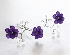 Violet bobby pin, Bridesmaids,Purple flower pin, Silk flower, Hair pin, Hair clips, Flowers, Hair piece, Crystal pins, Flower girl,Wedding hair accessories, Bridesmaid gift.  Color on the first photo 1406.  ***Price listed is for one hair pin.***  ✓ Size - approximately 7cm * 3cm.  I made this tender and romantic accessory from 100% natural silk and natural pearls. All the steps are handmade by me. Each petal is cut and processed with organic materials. The form is attached with millinery…