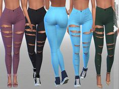 White Ripped Summer Jeans in More Colors by Pinkzombiecupcakes at TSR • Sims 4 Updates