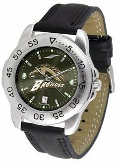 Western Michigan University Men's Leather Band Sports Watch by SunTime. $55.95. Men. Adjustable Band. AnoChrome Dial Enhances Team Logo And Overall Look. Leather Band. Officially Licensed Western Michigan Broncos Men's Leather Band Sports Watch. Western Michigan Broncos men's sports watch. This Broncos watch comes with a genuine leather strap. A date calendar function plus a rotating bezel/timer circles the scratch-resistant crystal. The scratch resistant face pr...