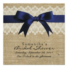 navy blue and silver, lace and burlap wedding | Navy Blue Silk Ribbon, Lace & Burlap Bridal Shower Custom Invites
