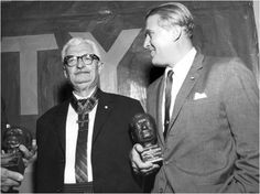 Dr. Von Braun, right, holds the coveted Hermann Oberth award, presented to him by Dr. Oberth