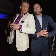 Statham and Stallone - Their faces, though! Jason Statham, Sylvester Stallone, Squad Goals, Gentleman, Suit Jacket, Hollywood, Blazer, Photo And Video, Coat