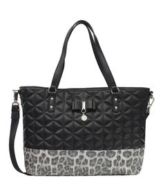 Love this Jessica Simpson Collection Black Leopard Quilted Hailey Tote by Jessica Simpson Collection on #zulily! #zulilyfinds