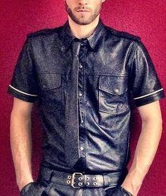 Lederhemd Leathershirt Gay Folsom Bluf XL