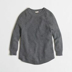 J.Crew Factory textured curved-hem sweater ($55) ❤ liked on Polyvore featuring tops, sweaters, tops/outerwear, j.crew, textured top, long sleeve tops, long sleeve sweaters and j crew top