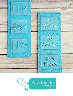 Wall Decor Plaques Pair Turquoise Home Sweet Home Be Warm Be Welcome Be at Home Up Cycled Eco Friendly from Crafty McDaniel http://www.amazon.com/dp/B01CLRLVJS/ref=hnd_sw_r_pi_dp_saW6wb0XAGAC3 #handmadeatamazon