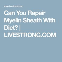 Can You Repair Myelin Sheath With Diet? | LIVESTRONG.COM