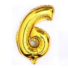 "40"" Metallic Gold Glossy Six Year Old Birthday Party Number 6 Float Balloon Usa"