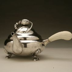 Georg Jensen Blossom tea pot, Handmade Sterling Silver