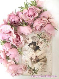 Vintage Girls, Vintage Roses, Vintage Beauty, Rose Girl, Shabby Chic Crafts, Baby Girl Nursery Decor, Romantic Roses, Flower Prints, Pink Roses