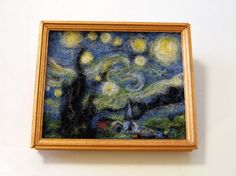 Mini felted Starry Starry Night by normaljean on Etsy.