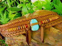 GENUINE TURQUOISE Cuff Bracelet, Genuine Chocolate Deerskin Leather, Native American, Tribal Unisex Men and Womans Handmade Jewelry, OOAK