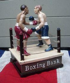 BOXERS CAST IRON MECHANICAL BANK
