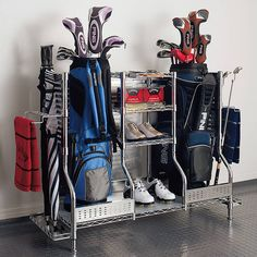 Meticulously crafted with the serious golfer in mind, our Golf Organizers store golf bags, shoes, clubs, and playing gear in a sturdy 3-shelf organization center. Designed to hold golf shoes, extra clubs, towels, and boxes of golf ballsSide rings store golf clubs Conveniently placed towel bars assist with quick cleanup Chrome-plated steel frame with stainless steel panels, and easy-clean plastic shelf liners Shelf weight capacity is 175 lbs.; when moving the organizers weight...