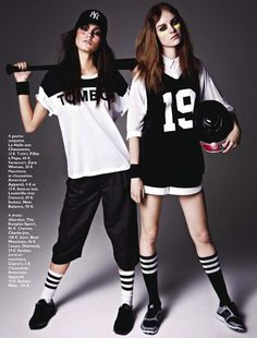 Grazia France Models: Keilani Asmus + Gwen Loos Photographer: James Macari Styled by: Laure Orset-Prelet GANGS DE MODE FASHION GANGS EDITORIAL RANGE OF SPRING SUMMER 2013 COLLECTIONS GOTHIC SPORT LOOK BLACK AND WHITE STRIPES KNEE HIGH SOCKS JERSEY