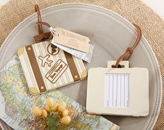 Let the Journey Begin Vintage Suitcase Luggage Tag - What guest couldn't use new luggage tags?  We love these favors!