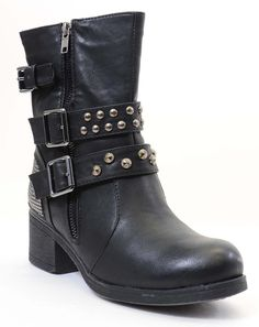 Designed with leatherette upper, strap with adjustable buckle, jewel studded decor on back, stack heel, stitching details, extra padded insole for all day comfort!