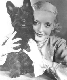 Bette Davis and Scottish Terrier, circa 1930s both equally beautiful!