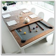 Dining room table changes to billiards table. Would be great to triple that as a gaming table for miniatures where felt would be beneficial.