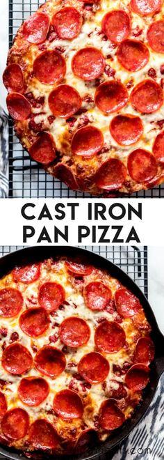 Cast Iron Pan Pizza has a crispy fried crust and a thick almost focaccia-like puffy interior with all your favorite toppings! It doesn't taste just like Pizza Hut: it tastes better. Pizza Hut Recipe, Cast Iron Pizza Recipe, Cast Iron Skillet Cooking, Best Pizza Dough, Iron Skillet Recipes, Cast Iron Recipes, Pizza Recipes, Homemade Pan Pizza Recipe, Pizza Hut Crust