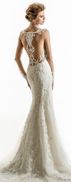 jillian 2018 bridal long sleeves illusion bateau sweetheart neckline full embellishment elegant fit and flare wedding dress sheer lace back chapel train (05) zv bv -- Jillian 2018 Wedding Dresses