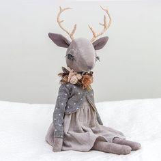 New woodland creature • • • • • #lenabekh #handmadetoy #handmade #handmadedoll #softie #softtoy #textiledoll #heirloomdoll #clothdoll #kidsroomdecor #dollmaker #babyshowerdecor #instatoys #babyroom #fantasyart #handmadegifts #reindeer #deerdoll #caribou #antlers #deer #woodlandcreatures #intothewild #ohdeer #flowercrown #fabricflower #anthropomorphic #softsculpture