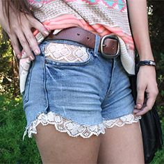 Fashion Nice Blue Flower Lace Denim Shorts only $30 Lace Denim
