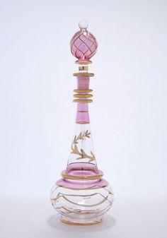 Egyptian Perfume Bottles Blown Glass Purple Genie Bottle Hand painted 4-1119-108