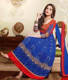 USD 54.11 Blue Net Ankle Length Anarkali Suit 44423