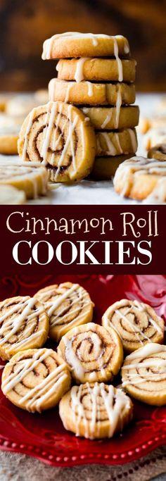 Little cinnamon roll cookies made from sugar cookie dough! Easy recipe on sallysbakingaddiction.com