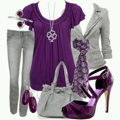 A fashion look from October 2008 featuring forever 21 shirts, blazer jacket and low rise jeans. Browse and shop related looks. Purple Fashion, Look Fashion, Autumn Fashion, Fashion Styles, Mode Outfits, Casual Outfits, Fashion Outfits, Womens Fashion, Dress Outfits