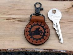 Keychain Key Fob KeyHolder Motorcycle  Personalized Natural Leather  Monogram Keyring carabiner Gift for Him Boyfriend Father Grandfather