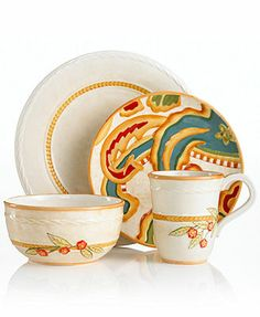 Fitz and Floyd Dinnerware, Carissa Paisley Beige Collection