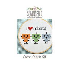 Robot Cross Stitch Kit I love robots от Sewingseed на Etsy, $20.00