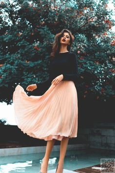 22. #Swish! - These 36 #Photos Prove You've Got to Wear a Midi #Skirt This Spring ... → #Fashion #Modest