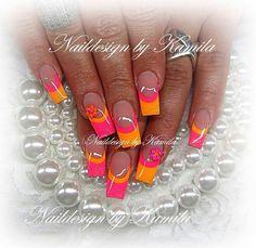 Discover new and inspirational nail art for your short nail designs. Short Nail Designs, Colorful Nail Designs, Toe Nail Designs, Acrylic Nail Designs, Bright Nails, Neon Nails, Fancy Nails, Bling Nails, Orange Toe Nails