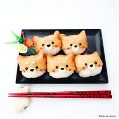 柴犬いなり by satomi0819 Box Kawaii, Kawaii Bento, Cute Bento Boxes, Kawaii Dessert, Bento Recipes, Bento Ideas, Sushi Art, Cafe Food, Food Drawing